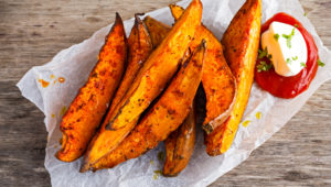 Crispy, Baked Sweet-Potato Wedges