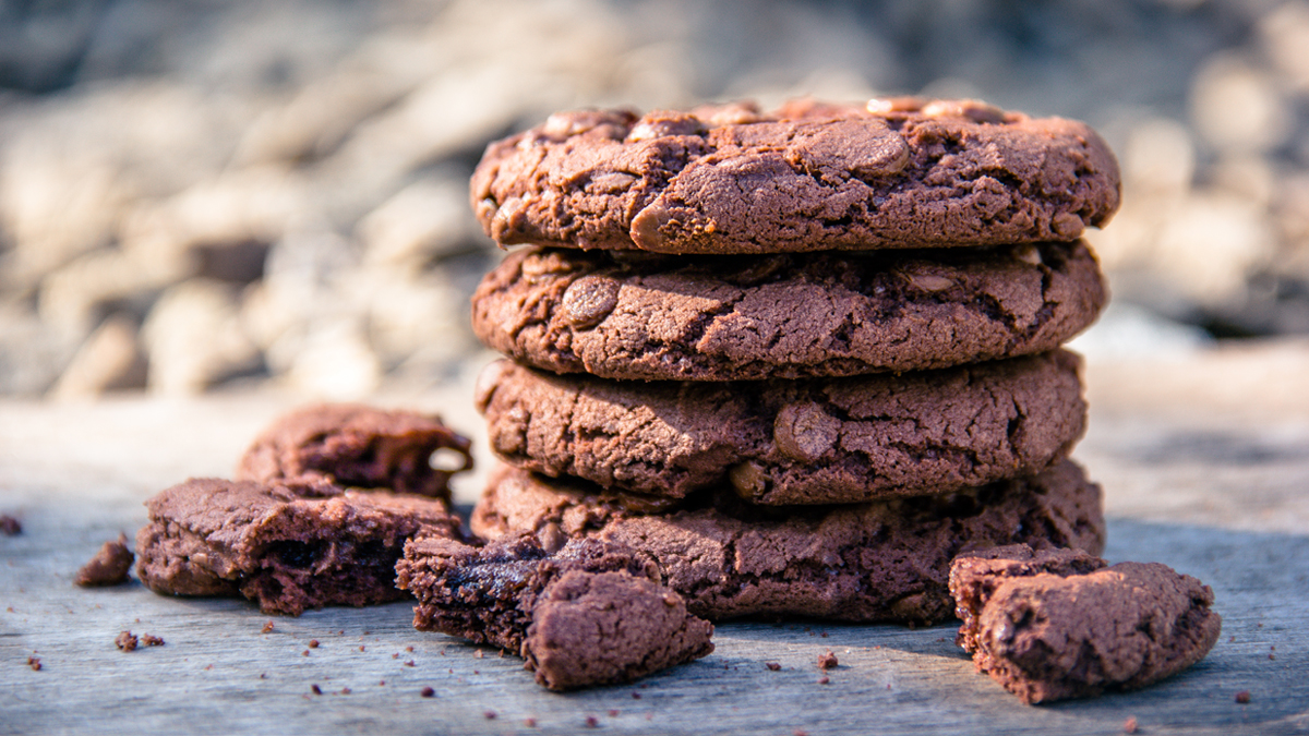 healthy cookie recipe dark chocolate hazelnut cookies sit on table looking delicious